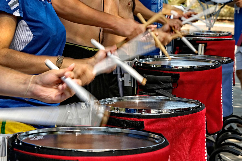 KU's drumline practices prior to the season opener