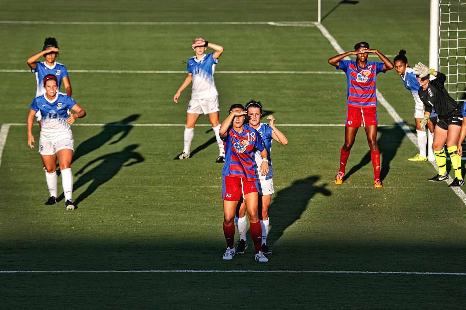 Sun in the eyes of KU Soccer Players