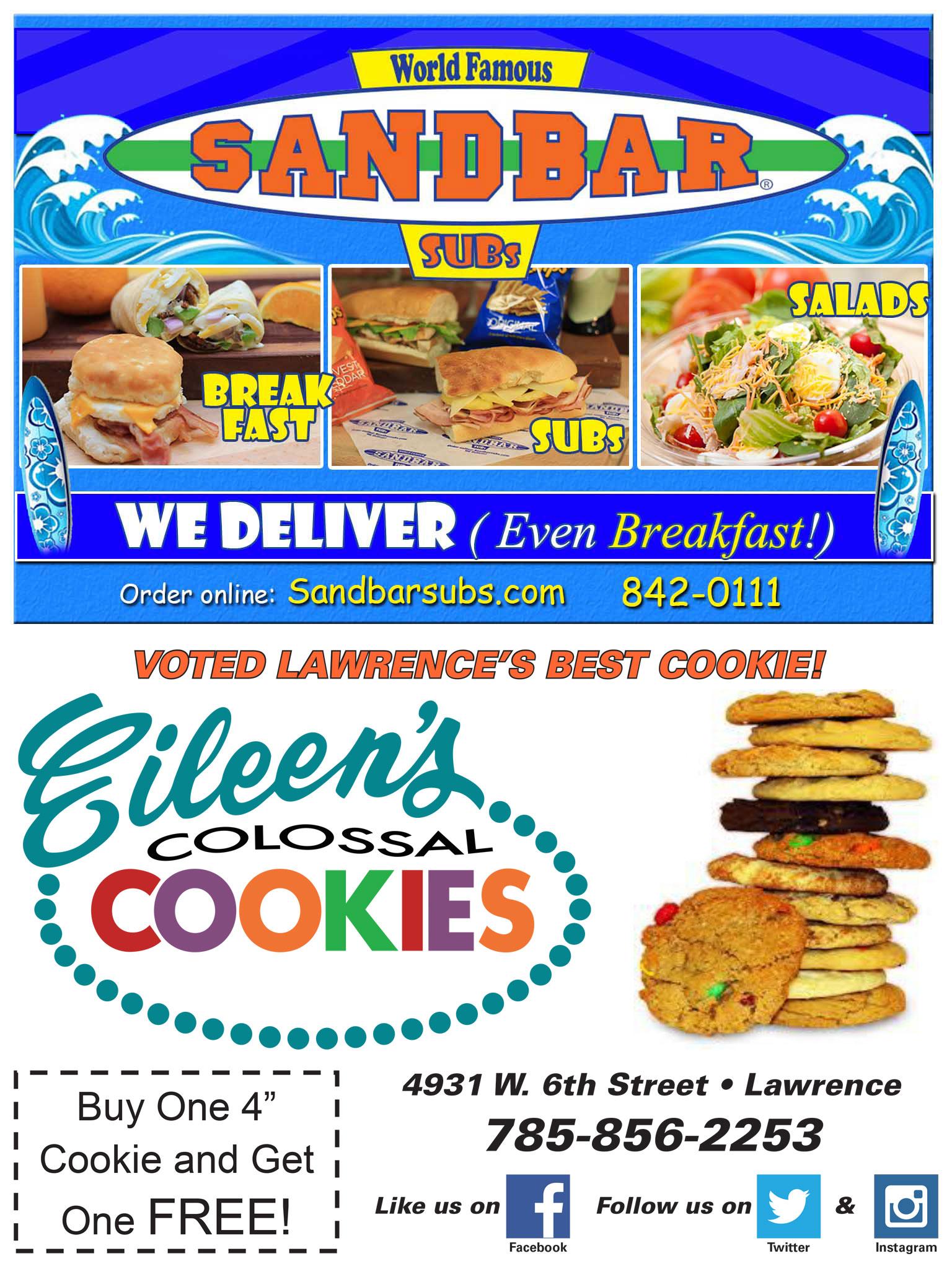 Eileens / Sandbar Subs Catering Ad
