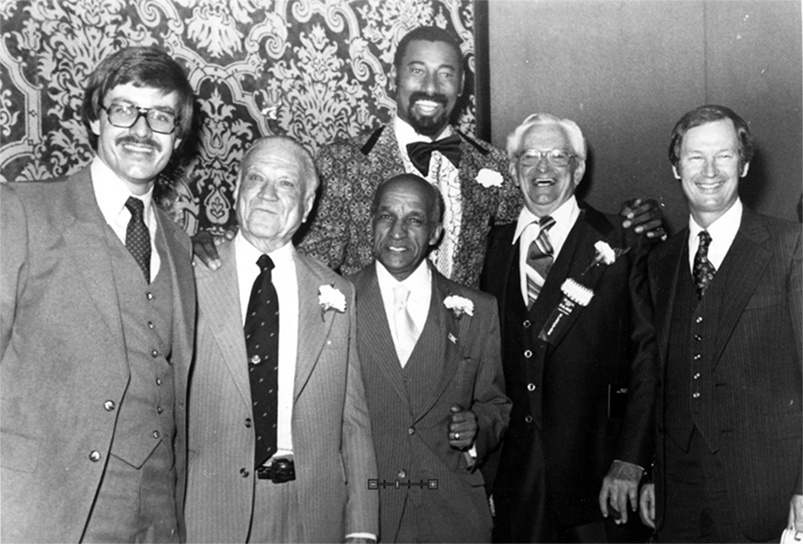 "John McLendon with other Hall of Fame inductees. From left to right: Don Baker, A.C. ""Dutch"" Lonborg, John McLendon, Wilt Chamberlain, Bill Johnson, and Ted Owens."